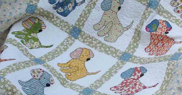 Vintage Baby Quilt Patterns Free : vintage quilt patterns Puppy Love Quilt Pattern @ Vintage & Vogue QUILTS Dog Quilts ...