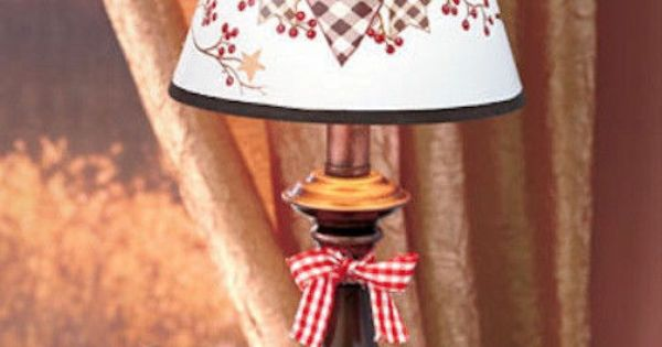 Country Table Lamp Hearts Stars Rustic Light Lighting