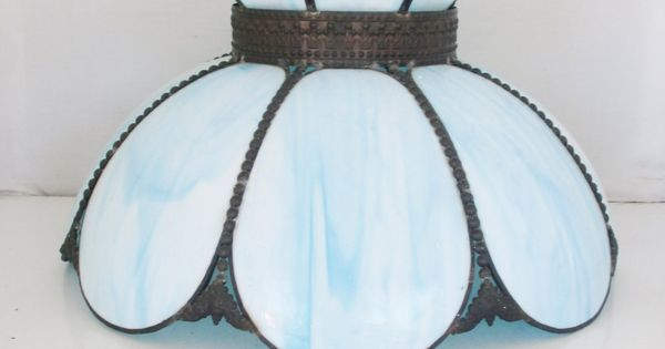 Vintage Glass Lampshade Tiffany Style Stained Slag Glass