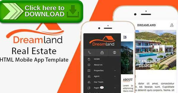 Free nulled DreamLand \u2013 Real Estate HTML Mobile App Template - spreadsheet free download for mobile