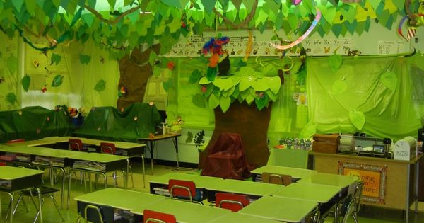 Cool Classroom Decoration Ideas : Cool classroom decoration ideas with ceiling jungle leaf