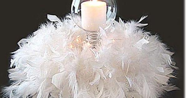 Candle and white feather boa centerpiece masquerade