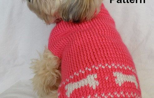 Cute dog sweater knitting pattern - PDF, small dog sweater, dog bones instant...