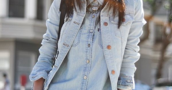 light denim blouse + light denim jacket + shorts+ necklace