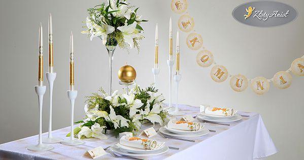 Jak Udekorowac Stol Komunijny Zobacz Przyklady Sklep Zlotyaniol Pl Decor Table Decorations Table Settings