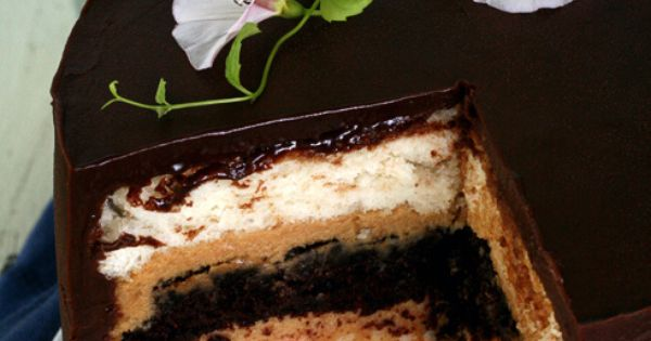 heaven and hell cake recipe: angel food cake + devil's food cake