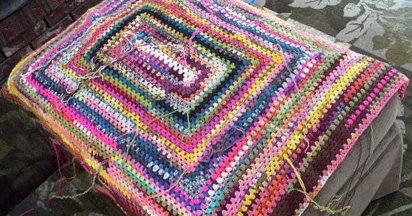 Rectangular Granny Afghan Crocheted With Scrap Sock Yarn