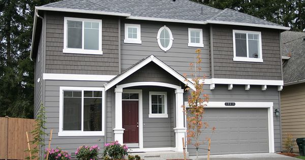 Grey On Grey With White Trim Maroon Door Exterior Home Pinterest Grey Doors And White Trim