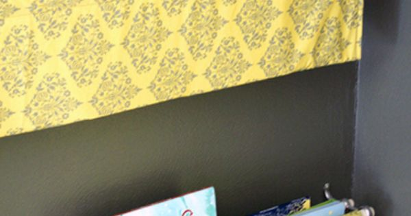 Cute idea for a kids room, fabric book shelves