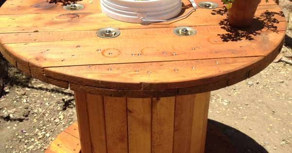 Wooden spool table sanded and stained the spool cut a for Table with cooler in middle