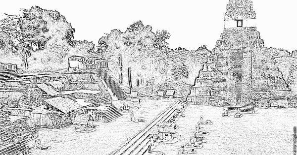 Dibujo De Templo Tikal Para Colorear Dibujos Net Abstract Artwork Tikal Abstract