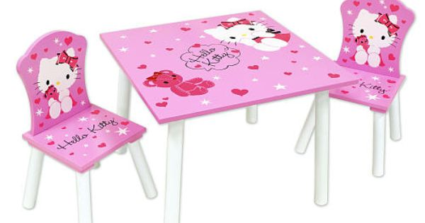Cute little hello kitty table set perfect for my princess for Table exterieur hello kitty