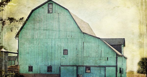 Aqua Barn 4x6 Fine Art Photography Mint Green Farmhouse Farm Country Rustic