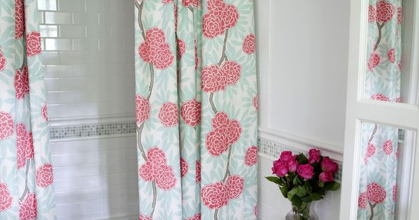 Flower Shower Curtain With Shaped Valance And Double