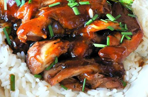 CROCKPOT TERIYAKI CHICKEN 12 boneless skinless chicken thighs (about 3 pounds) 3/4