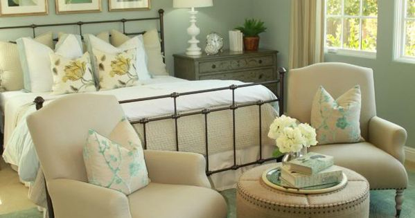 Love the bed, sitting area, dresser, lamp... Does the wall color make