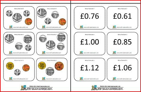 Printable Money Flashcards Us And Uk Coins Money Math Activities Teaching Money Money Math