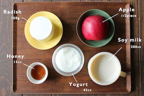 腸もむくみも超スッキリ 大根とりんごの豆乳ヨーグルトスムージー