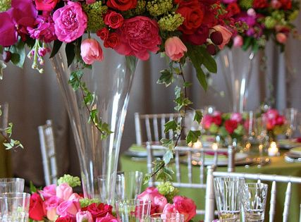 Rose bouquet - Tall Centerpieces in Pinks and Reds