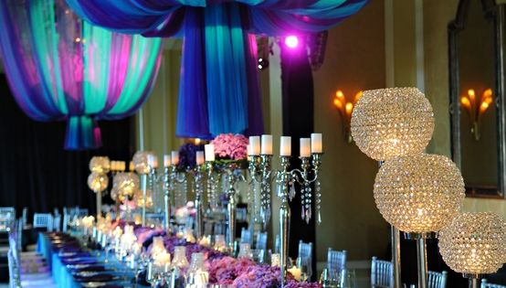 Wedding color scheme: Turquoise & purple - hot colors for wedding reception