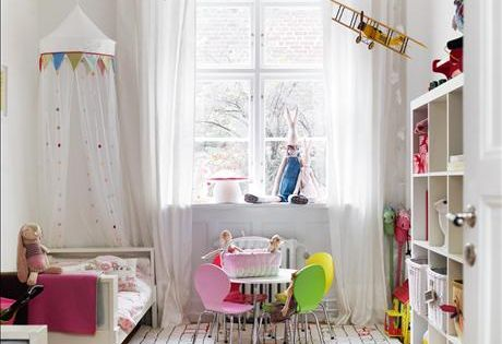 White walls, but tons of color in this little girls room but