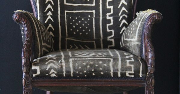 Tribal Print upholstered chair - black and white/off white