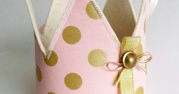 Verjaardagskroon roze met gouden stippen voor meisje verjaardagskroon - Deco slaapkamer meisje roze ...