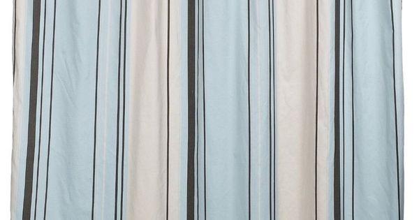 Nautica West End Blue Brown Beige Striped Fabric Shower