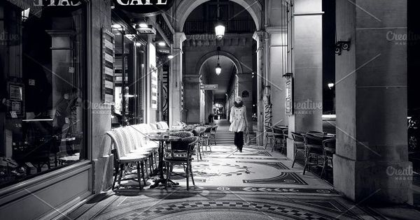 Urban Vision Black and White Cafe in France