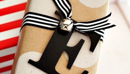 Pretty Packages. Gift Wrap Ideas. Polka Dot Kraft Paper. Monogram Letter Gift