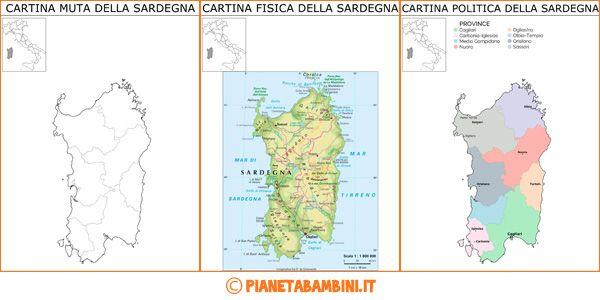 Cartina Stradale Sardegna Pdf.Cartina Muta Fisica E Politica Delle Sardegna Da Stampare Geografia Bambini Della Scuola Istruzione