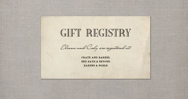 Wedding Gift Card Registry: Wedding Registry Card / Registry Cards / Gift Registry
