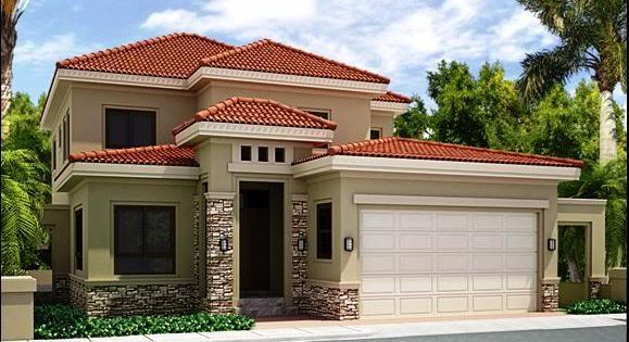 Modelo de casa de dos pisos con tejas rojas casa for Modelos de techos de casas