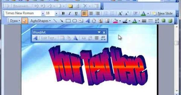 How To Use Word Art In Microsoft Word 2003 Youtube Microsoft Word Word Art Microsoft