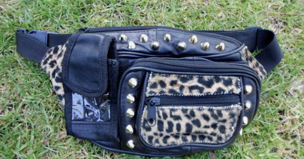 Crust Punk Leopard Studded Fanny Pack Our Etsy Shop