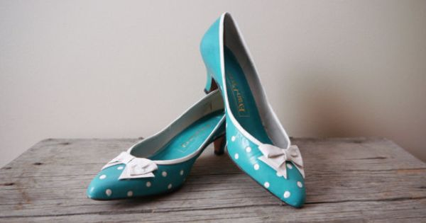 1980s Teal Polka Dot Kitten Heels // Evan Picone // Vintage Shoes ...