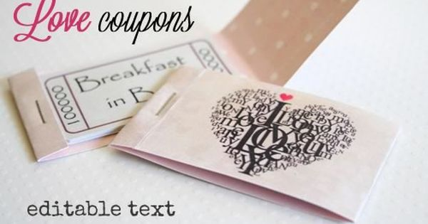 Printable Love Coupons With Fully Editable Text Messages