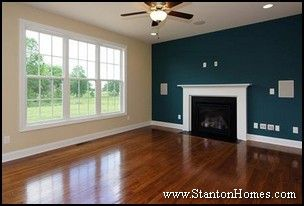 Blue Accent Wall With White Trim Accent Walls In Living Room