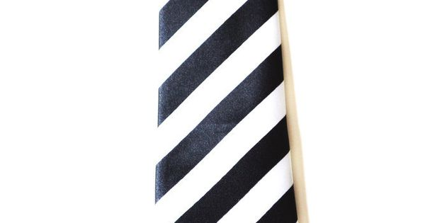 * Black and White Stripe Skinny Tie* 2 Inches Wide * Polyester Tie* 100% Handmade