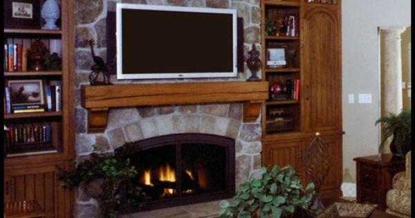 Fieldstone Fireplace With Cast Iron Firebox Rough Sawn Mantel Fireplace Ideas Pinterest