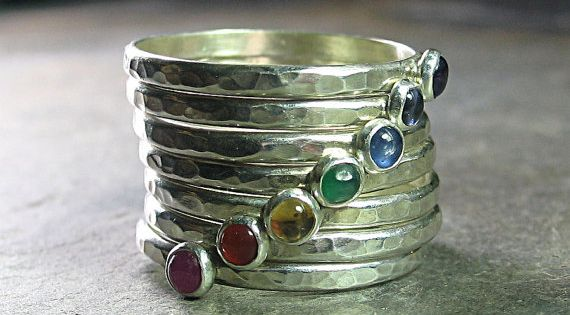 7 Chakras Stacking Rings - hammered sterling silver set of 7 with: