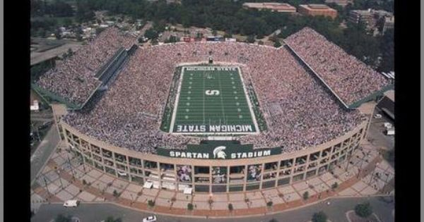 Michigan State Spartans Wood Mounted Poster Print Spartan Stadium Aerial Lg Michigan State Spartans Michigan State Michigan State Football