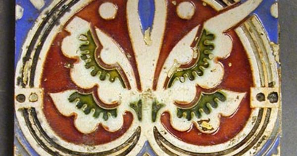 Craven Dunnill Majolica Glazed Relief Moulded Plastic Clay Tile Anthemium Border Design 6 Square C1880 Mosaic Art Art Nouveau Tiles Border Design