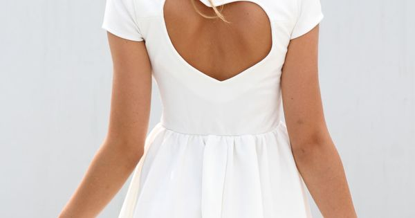 White Heart Cutout Dress with Cap Sleeves&Gathered Waist, Dress, heart cutout cap
