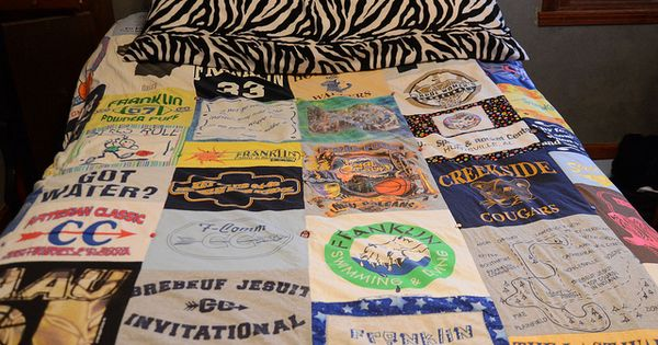 DIY Tshirt Quilt. Wonder if I can get hold of my bf's