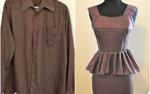 DIY peplum dress from men's dress shirt.