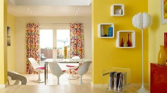 22 Bright Interior Design And Home Decorating Ideas With Lemon Yellow And Mint Green Flavors Bright Interior Design Home Decor Yellow Walls Living Room Lemon yellow room paint color
