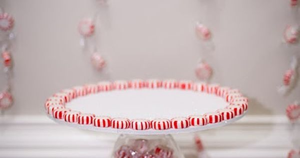 Peppermint Cupcake Stand - what a great idea, the peppermints just make