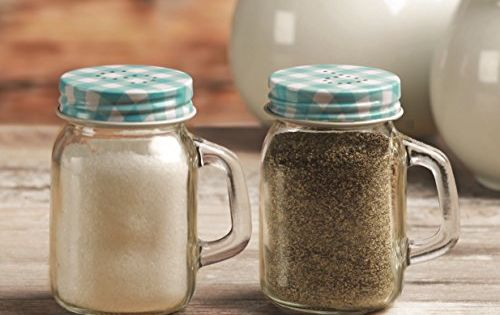 Circleware Mason Jar Salt And Pepper Shakers With Glass Handles And Metal Lids Blue And White Metal Lids 5 Ounce Mini Mason Jars Mason Jars Types Of Glassware