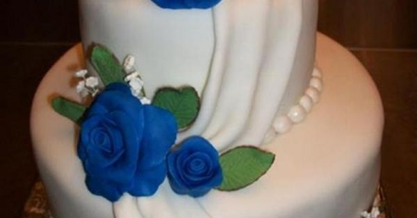 Small Blue Rose Wedding Cake Blue Orchid Tropical